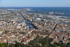 France,érault (34), Sète, vue de l'entrée est de la ville depuis le Mont Saint-Clair